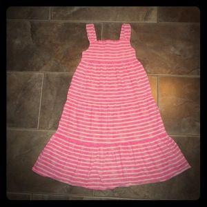 Lands end pink white striped sundress size 14